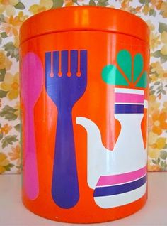 Retro Mod Kitchen Tin Canister Orange Purple Fork Spoon Pitcher Eklund for Laurids Lonborg retro mid century danish Vintage Canisters, Vintage Kitchenware, Vintage Tins, Retro Vintage, Vintage Candy, Vintage Style, Mod Furniture, Plywood Furniture, Furniture Design