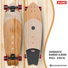 "The Chromantic cruiser board in color Bamboo/Almond is a medium-length surf inspired swallow tail cruiser . It is available in size 33"" x 9.5"" x 22.25""WB. It features a Bamboo with a mellow concave with kick tail. This Globe cruiser has 6.0"" Tensor Alloy trucks and 62mm 83a wheels. Get this complete cruiser today available now @originbaordshop  Lookin' for more skate hardware? Checkout our collection at Originboardshop.com  #globebrand #globeskateboarding #globeskateboards #globecruiser… Cruiser Skateboards, Rip Curl Bikini, Cruiser Boards, Longboard Decks, Supra Shoes, Complete Skateboards, Surfer Girl Style, Skateboard Design, Boards"