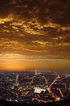 Sunset Over Paris By Batistini Gaston