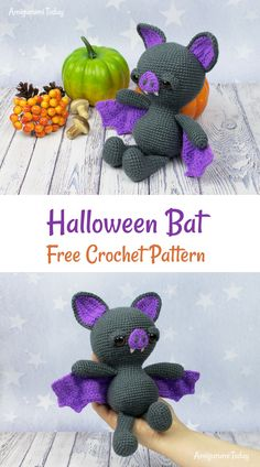 Place this spooky amigurumi bat on your shelve for cozy, family-friendly Halloween decoration this fall! Crochet it with our Soft & Dreamy Bat Amigurumi Pattern. Crochet Bat, Crochet Mignon, Crochet Gratis, Crochet Patterns Amigurumi, Cute Crochet, Crochet Dolls, Amigurumi Doll, Crochet Pour Halloween, Halloween Crochet Patterns