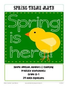 No Prep! 134 Spring Themed Addition and Counting Worksheet