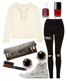 """""""Casually Egdy"""" by lindseylyonss on Polyvore featuring Topshop, Madewell, Kate Spade, Converse, Urban Decay, NARS Cosmetics, Chanel and Essie"""