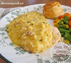 Cheesy Chicken and Rice {Crock Pot}
