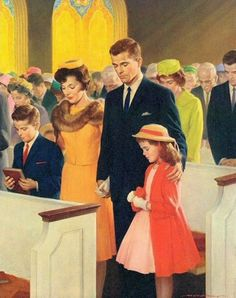 """And the blessings flowed.Vintage Shaw Barton """"A Family in Prayer"""" Church Calendar Art Print"""