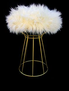 Gold Metal Wire & Faux Fur Vanity Stool    Platner Style Modernist Seating by ElectricMarigold on Etsy