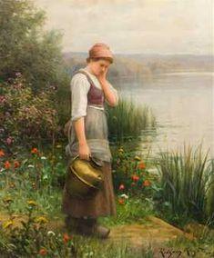 Daniel Ridgway Knight, (American, 1839-1924), Maiden -