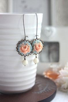 Peach Pink Aqua Blue Rose Flower Earrings. Something by Marolsha, $17.50  My Earrings! What a wonderful lady to deal with. So helpful, honest, and sweet.