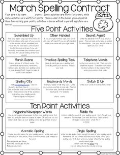 March Spelling Contract Freebie! Perfect for word work, centers, or homework! :)