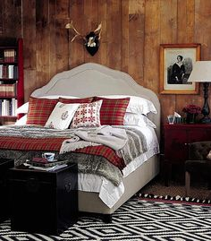 lodge interiors | Rustic chic: Bed, £1,499, faux fur throw, £99, and cushion covers ...