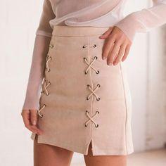 BONGOR LUSS Skirts Womens Lace Up Faux Leather Pencil Skirt Cross High Waist Zipper Split Bodycon Short Winter Skirt