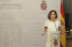 Su Majestad la Reina Letizia, durante sus palabras. Palacio del Senado. Madrid, 06.10.2015