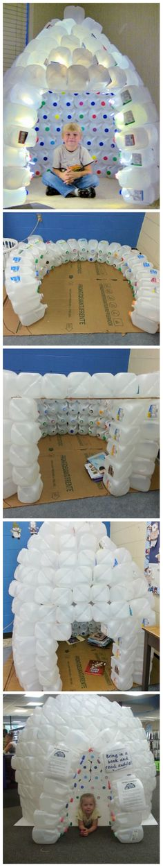 How to Build a Milk Jug Igloo [video] ... reading area .... winter, penguin, theme
