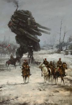 second concpet art/illustration from my personal historical/fiction project it was a very early stage, still I was looking for style & atmosphere, especially when it comes to mech design. the mech is based on the amazing work of ProgV: Diesel Punk, Fantasy Kunst, Sci Fi Fantasy, Science Fiction Kunst, Arte Cyberpunk, Alternate History, American Traditional, War Machine, Sci Fi Art