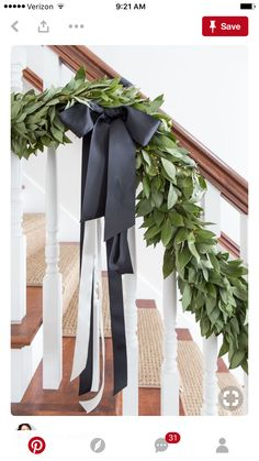 Black, white, and green Christmas house tour. Bay leaf garland with black and white ribbon Classy Christmas, Modern Christmas, Green Christmas, Christmas Home, Christmas Staircase, Xmas, Christmas Island, Christmas Cactus, Homemade Christmas