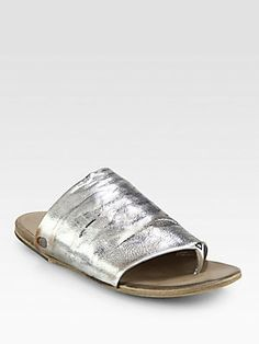 Marsell Distressed Metallic Leather Thong Sandals