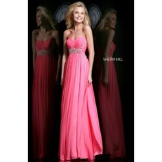 2014 Spring Sherri Hill 3904 Ruched Evening Gown Strawberry