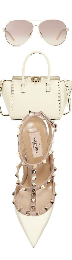 Valentino Rockstud Patent Sandal, Ivory, Valentino Rockstud Shopper Tote Bag, Ivory, and Valentino Metal Aviator Sunglasses with Rockstud Temples, Light Gold