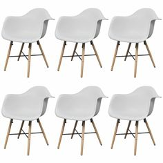 Eames Inspired Dining Chairs w Armrests in White - 8718475904717 For Sale, Buy from Dining Chairs Sets of 6 collection at MyDeal for best discounts. Modern Dining Chairs, Dining Chair Set, Dining Room Chairs, Eames, Wood, Timeless Design, Inspiration, Legs, Sunday