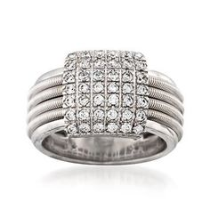 Ross-Simons - .40 ct. t.w. Pave CZ Ribbed Ring in Sterling Silver - #826794