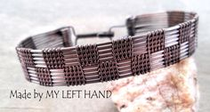 Mens Bracelet Wire Wrapped Men Copper Bracelet от MadeByMyLeftHand