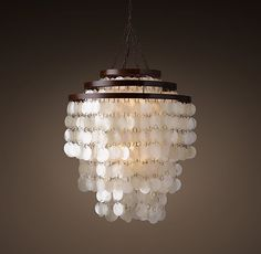 """At $800, this one is going to stay in the dream zone! So pretty though.   Capiz Three-Tier Chandelier 24"""""""
