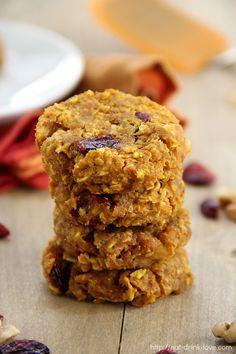 100% Whole Grain Pumpkin Breakfast Cookies (Sugar-Free, Vegan)