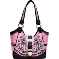 Pink Embroidered Leaf Pattern Buckle Accent Shoulder Bag Purse