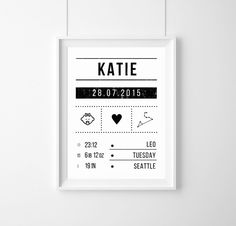Gift birth baptism birth announcement print - prints & posters - home accessories . Custom Baby Gifts, New Baby Gifts, Birthday Dates, Baby Birthday, Happy Quotes Inspirational, Birth Records, Baby Posters, Baby Journal, Personalized Posters