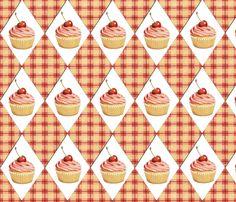 Pink Cupcake Pink Plaid Diamonds by Patricia Shea fabric by patricia_shea on Spoonflower - custom fabric