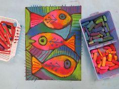 Chalk folk art fish | art class for kids | under the sea art