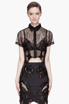 KTZ Black embroidered Lace cropped Blouse
