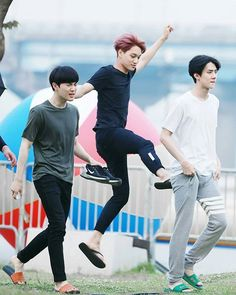 "Suho, Kai and Sehun Kai is like: ""Pretty fairy coming through"" Sehun: ""Excuse them, they're missing out on medication."" Suho: ""KRIS YOU DOG LEAVING ME WITH THE KIDS!"" >>> are we going to ignore the fact that Kai is tryna hit Sehun's ass? Kpop Exo, Exo Ot9, K Pop, 2ne1, Shinee, Got7, Sung Joon, Chanyeol Baekhyun, Sehun Hot"