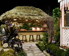 Plan Your Tiki Bar! Discover some of the top-rated tiki bar decorations and tiki bar ideas for your tropical beach home. Tiki Bar Stools, Wicker Bar Stools, Tiki Bar Signs, Tiki Bar Decor, Tropical Furniture, Country House Design, Swim Up Bar, Pool Cabana, Modern Bar
