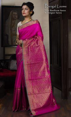 Tassar Silk Banarasi Saree in Hot Pink and Gold