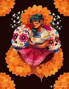 """jimmymm-ilustra: Día de Muertos/Day of the Dead""""Entre flores..."""