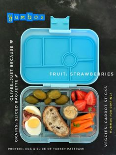 With all the holiday baking, socializing/eating,and what not, I crave simple and small lunches. No excuses for not trying to eat healthy during the holidays.  Today's #Yumbox lunch, packed in Liberty Blue Yumbox Original is composed of: 1 hard boiled egg, slice of turkey pastrami, carrot sticks and hummus for dipping, strawberries, and sliced baguette.