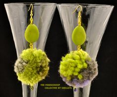 Chartreuse  and Violet Glamourpuss. Drop earrings for pierced ears featuring…