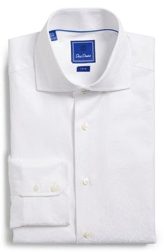 David Donahue Trim Fit Tonal Paisley Dress Shirt