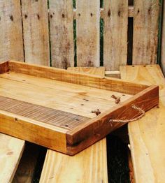 Reclaimed Wood Serving Tray with Rope Handles - Walnut Laquer Finish by FAS Projects on Scoutmob Shoppe