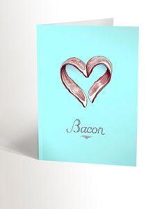 La carte BACON Bacon, Etsy, Heart Shapes, Birthday, Cards, Pork Belly