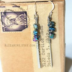 Hammered bass string earrings with titanium by strungoutstars