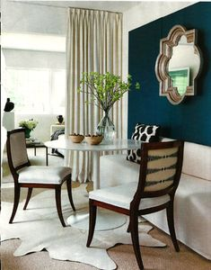 Dining room inspiration. LOVE the dark wall and light furniture. POP!