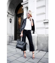 Cropped flared pants | Black and White | Classics | Celine | Harper and Harley