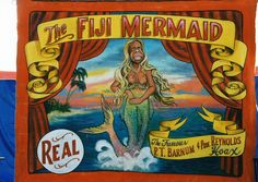The Figi Mermaid Sideshow Banner Carnival Signs, Carnival Posters, Circus Poster, Rock N Roll, Sideshow Toys, Mermaid Sign, Dark Circus, Freaks And Geeks, Show Beauty