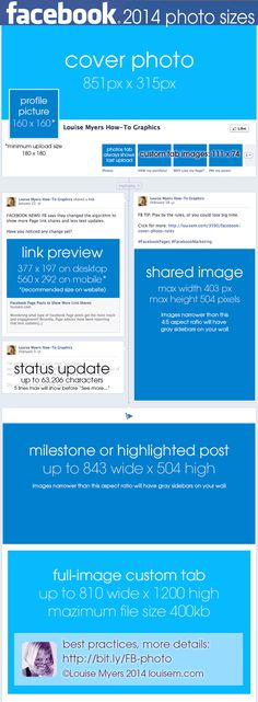 Pin this, so you always have #Facebook Photo Size Dimensions handy! #Infographic just updated for 2014. #FacebookMarketing
