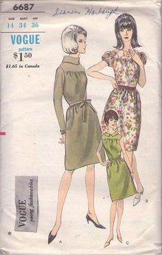 MOMSPatterns Vintage Sewing Patterns - Vogue 6687 Vintage 60's Sewing Pattern SWELL Mod Young Fashionables Roll Collar or Puff Sleeve Yoked A-Line Dress Size 14