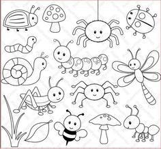 Happy Bugs Digital Stamps - Malen / Zeichnen - New education Monster Coloring Pages, Bug Coloring Pages, Digi Stamps, Felt Animals, Doodle Art, Doodle Alphabet, Easy Drawings, Art Images, Embroidery Patterns