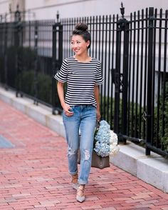 """9,875 Likes, 86 Comments - Jean Wang   Extra Petite Blog (@extrapetite) on Instagram: """"Give me stripes + comfy jeans and I'm a happy girl (also found my shoes fully in stock in this…"""""""