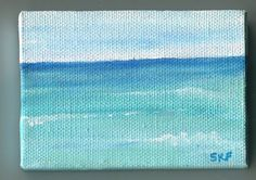 Seascape Waves Mini Painting on canvas Original by SharonFosterArt, $20.00