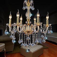 6 Heads Modern Luxury Crystal Pendant Light Gold Transparent Chandelier For Home